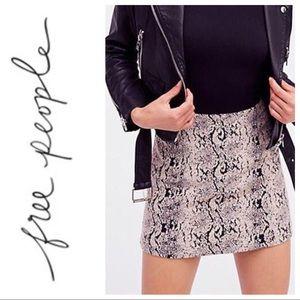 Free People | Pink Black Snakeskin Zip Mini Skirt